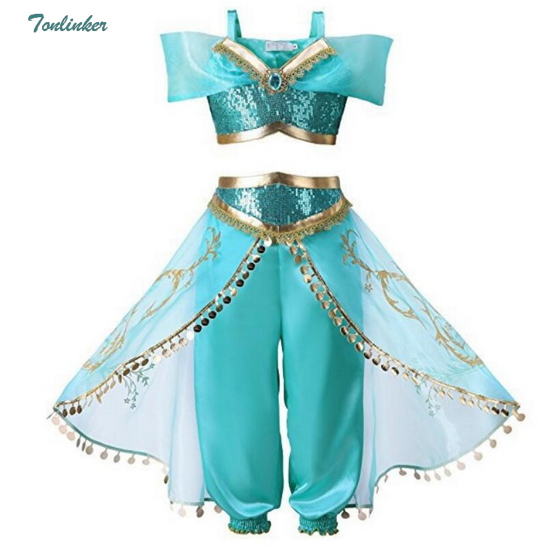 6000549970bdd US $17.91 36% OFF|Halloween Christmas Party Cosplay Kids Girls Princess  Jasmine Costumes For Children Party Belly Dance Dress Indian Costume 2ps-in  ...