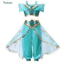 eb12aba96250 Halloween Christmas Party Cosplay Kids Girls Princess Jasmine Costumes For  Children Party Belly Dance Dress Indian