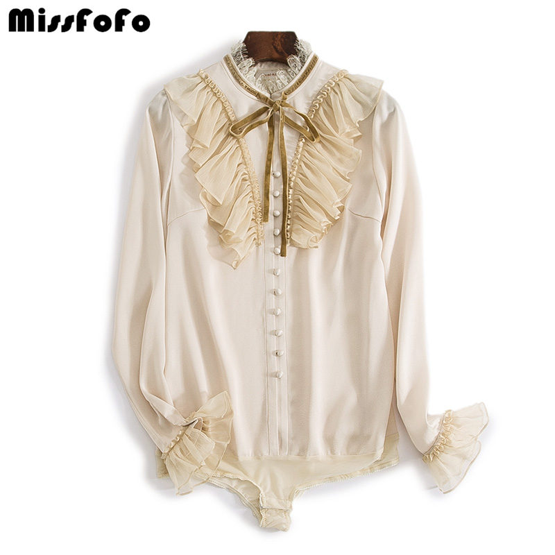 MissFoFo 2019 New Fashion Women s Shirt Bow Solid Stand Flare Sleeve Office Lady Velvet Size