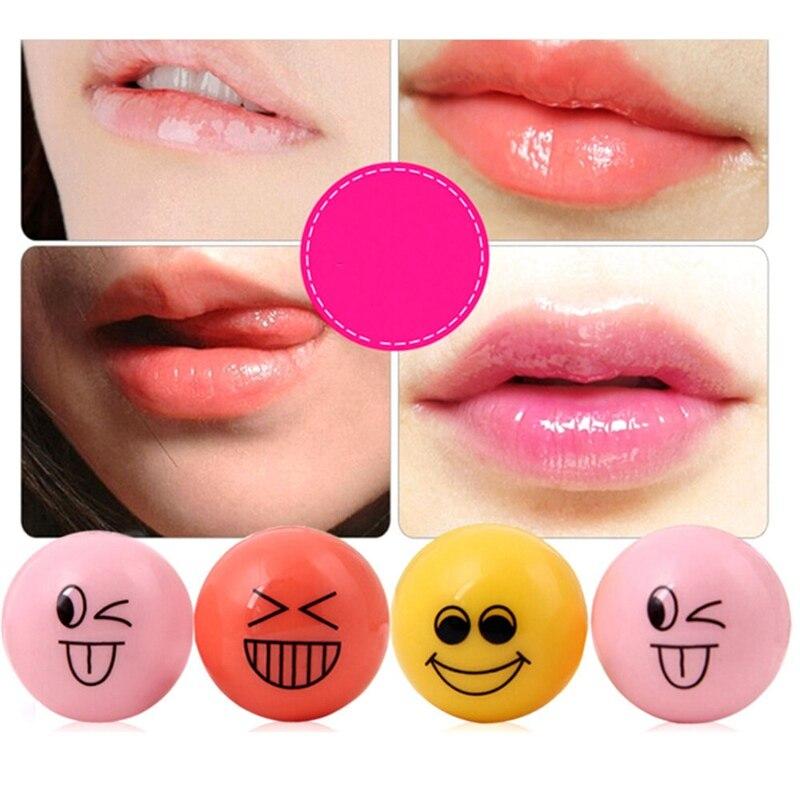 1pc Fruity Nutritious Lip Balm Cute Carton Face Expression Lip Stick Lemon Grape Peach Natural Plant Moisturizer Lip Balm