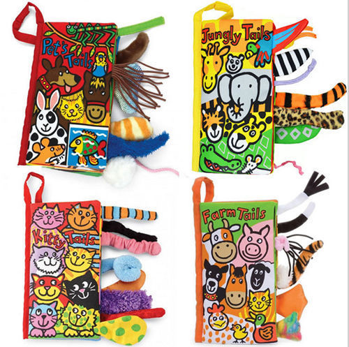 Infant Baby Toddler Kid Child Crinkle Charming Animal Tails Cloth Book for Baby Development Brain Toy