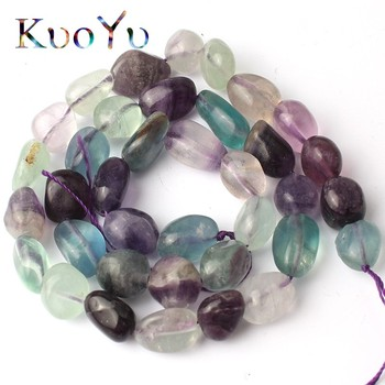 8649a4f7a5c5 8-10mm Irregular Natural de la fluorita granos flojos de piedra para la  joyería haciendo pulseras DIY collar 15