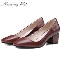 Krazing pot/2017 Женская Брендовая обувь модные натуральная кожа с квадратным носком цвета обнаженной толстый Обувь на высоком каблуке без шнуровки обувь для деловой женщины L88