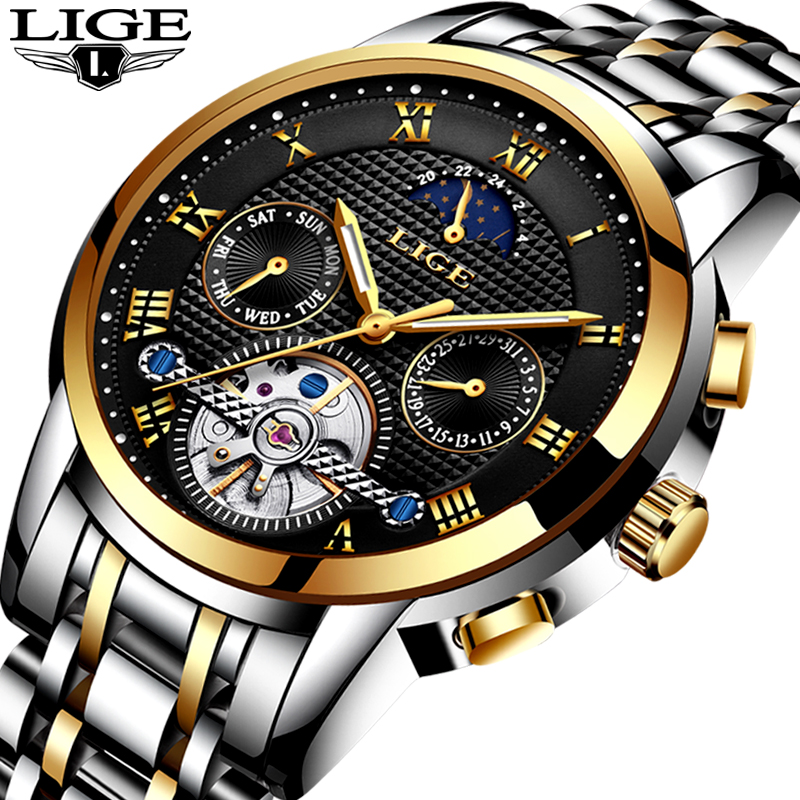LIGE Mens Orologi Top Brand di Lusso Meccanico Automatico Degli Uomini Della Vigilanza di Acciaio Pieno di Affari Impermeabile di Sport Orologi Relogio Masculino