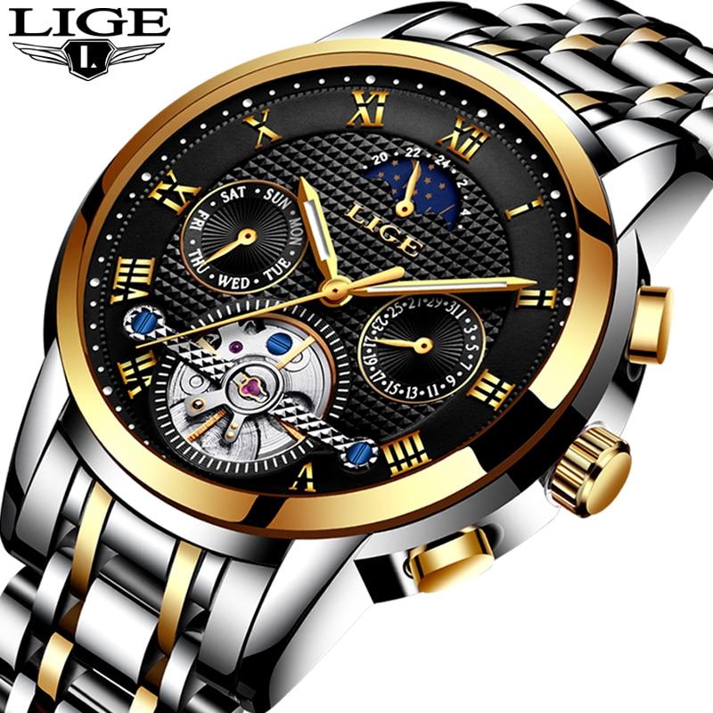 LIGE Mens Watches Top Brand Luxury Automatic Mechanical Watch Men Full Steel Business Waterproof Sport Watches Relogio Masculino