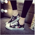 Spring summer Korean female models canvas shoes Floral lace low to help casual shoes High quality women's casual shoes