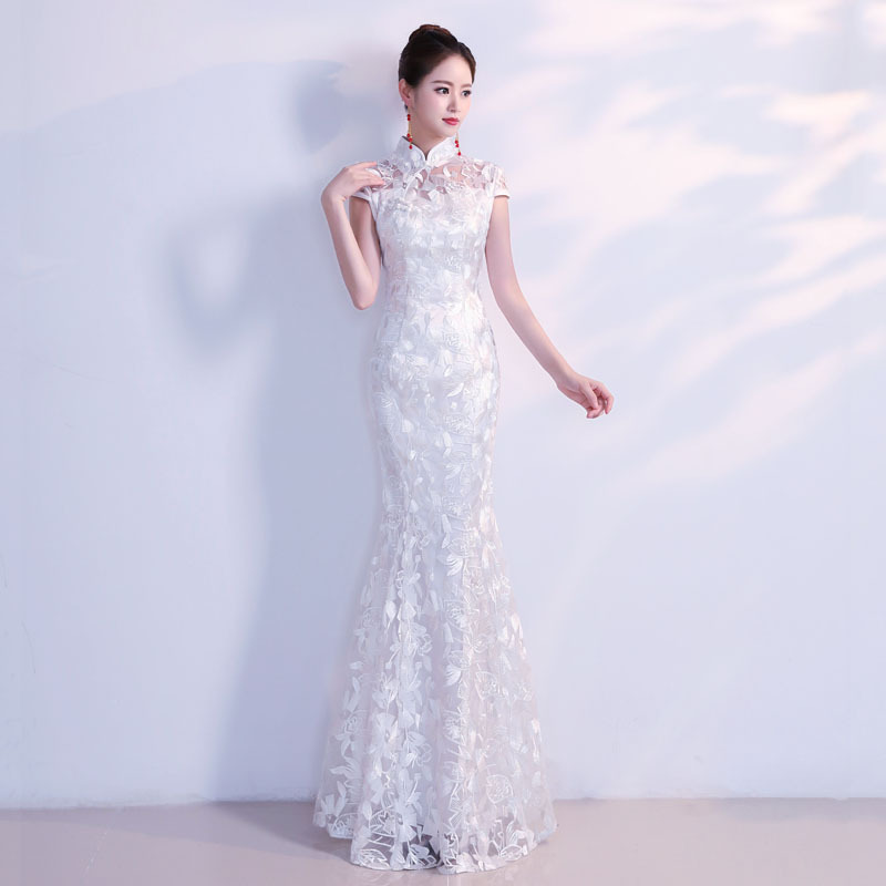 Us 49 32 26 Off White Traditional Chinese Wedding Dress Sexy Qipao Mermaid Cheongsam Evening Gown Lace Modern Oriental Dresses Elegant Qi Pao In