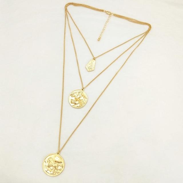 Charms Multi Layered Gold Kette Erklärung Halskette Frauen Luxus