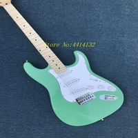 Hot Sale Factory Direct st electric guitar surf green real guitar pics 22 frets maple Fingerboard Wholesale free shipping