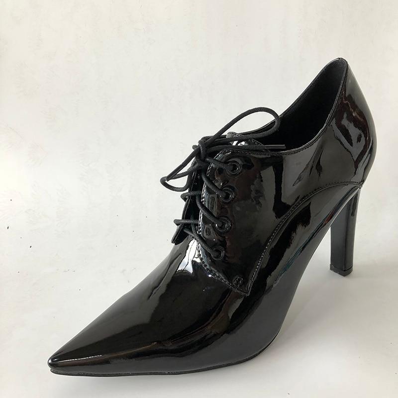 Pompes Mode Épais À Fsj Casual Pointu Mujer Lacets En Talons Filles Haute Cuir Automne Black École Chaussures Zapato 2018 Bout Femmes Robe Pwqr0dCnqE