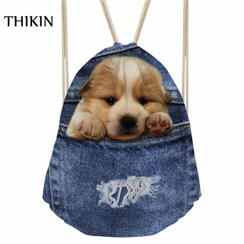 THIKIN Women Swimming Bags 2019 3D Blue DenimCute Animal Cat Printing Draw-string Backpackes Causal Boys Beach Bolsos Sports Bag