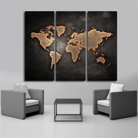 New 3 Pcs Vintage Black World Map Print on Canvas Abstract World Map Canvas Oil Painting Office Living Room Wall Decor Picture