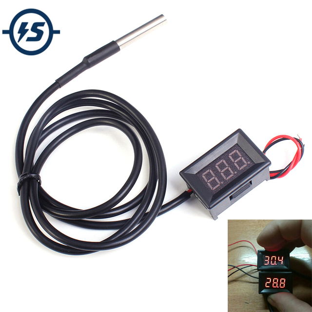 0.36 Inch Red Digital DS18B20 Thermometer Waterproof LED Display Temperature Sensor Meter Tester DC4-28V -55~125 Celsius