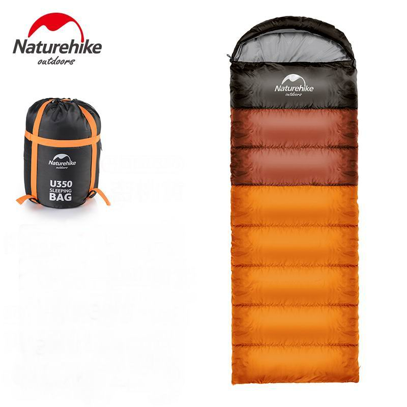 Outdoor Envelope Type Hood Single Sleeping Bag Cotton Splicing Compression Sleeping Bags Camping Spring Summer Blue Orange Green 210t polyester plaid sleeping bag winter sleeping outdoor camping sport adult envelope type cotton splicing single sleeping bags