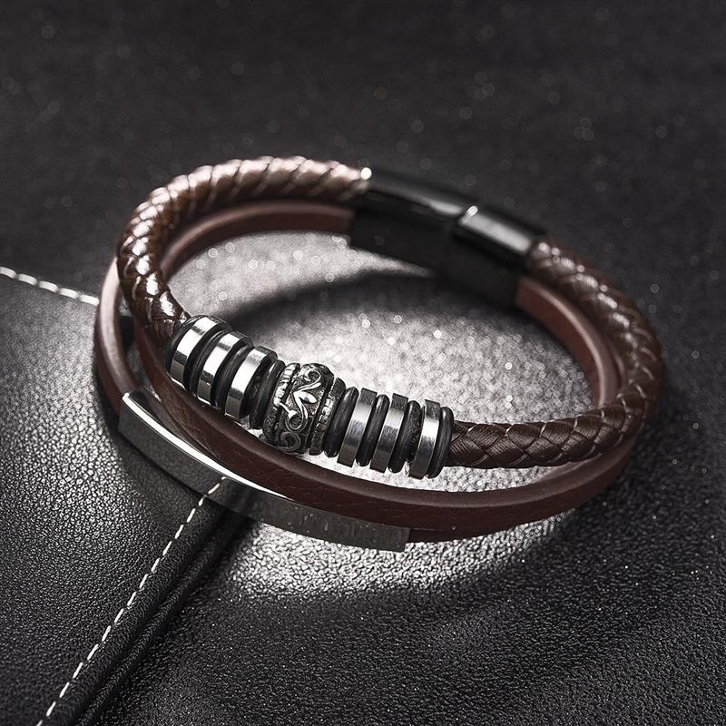 YAKAMOZ Men Stainless Steel Bracelet Brown/Black Handmade Braided Leather Bracelet Magnetic Buckle Fashion Punk Jewelry