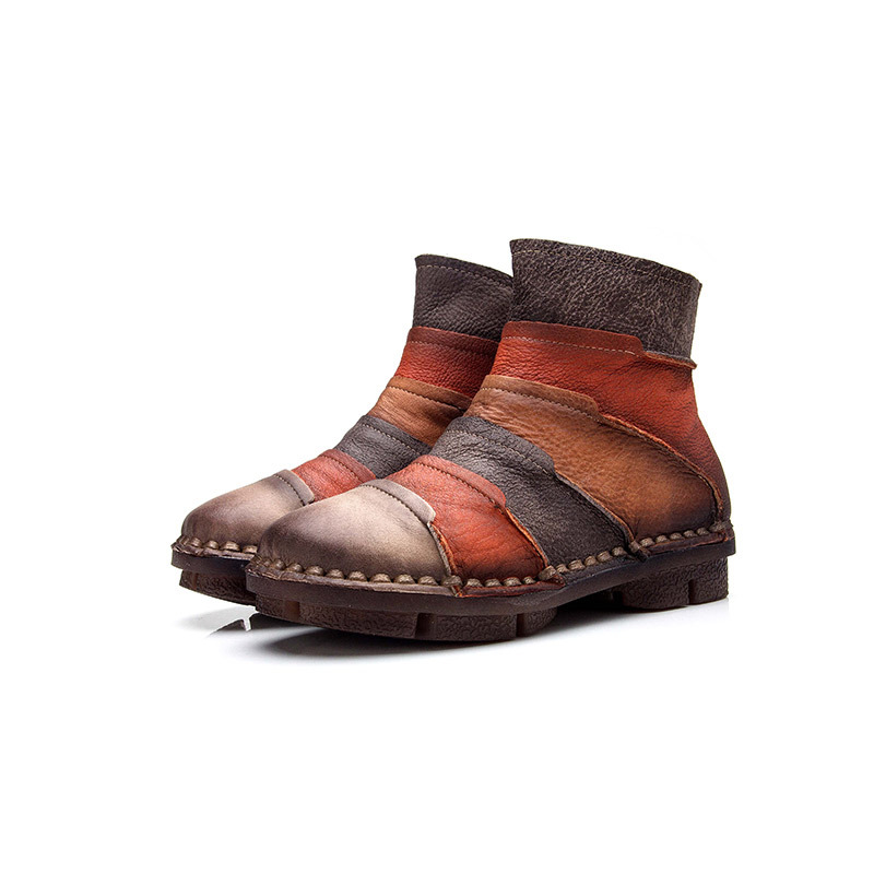 2018 spring and autumn new round head casual leather barefoot comfortable beef tendon at the end of Martin boots breathable mum the ocean at the end of the lane