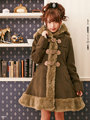 Princess sweet lolita coat Winter sweet new Japanese school bear wind ear fur coats hooded women long fur coat     HT002