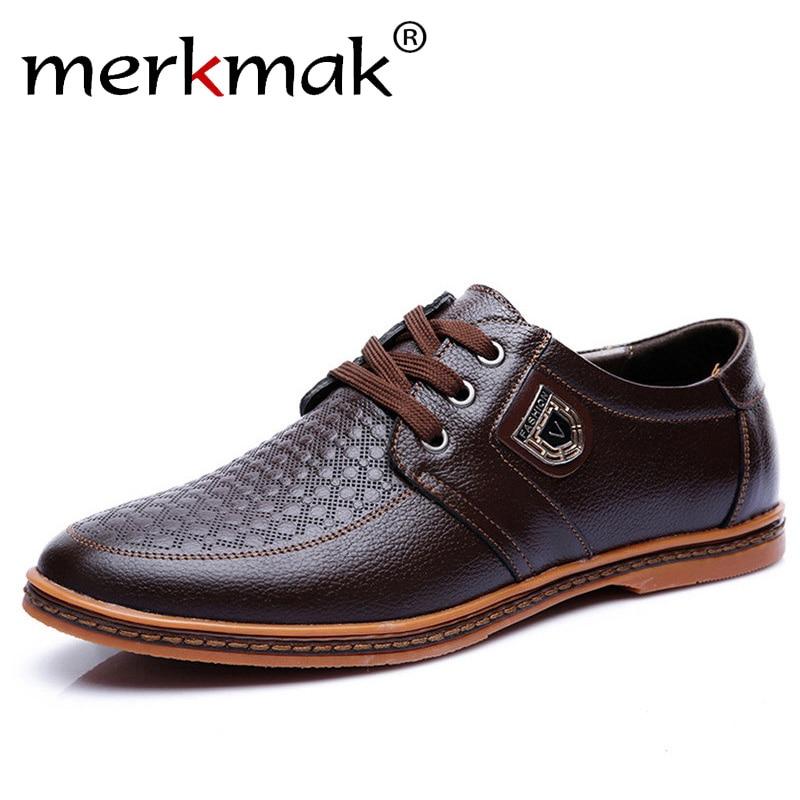 Merkmak Neue männer Leder Casual Schuhe Herbst Luxus Marke Schuhe Männer Flache Schuhe Erwachsene Mokassins Männlichen Schuhe Chaussure Hause