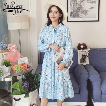 f35726fcc Модные женские платья 2019 весеннее элегантное шифоновое платье с принтом женская  одежда расклешенное женское платье длиной
