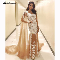 Lace Applique Champagne Mermaid Evening Dresses Sexy Caftan Long Evening Gown Long Women Formal Dress