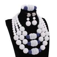 Dudo Bridal Jewelry Set 3 Rows Crystal White & Dark Blue Beaded Balls Big African Jewellery Set Free Shipping 2019 Birthday Gift