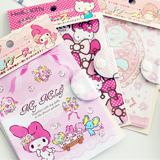 Kawaii hello kitty my melody twin stars cartoon business card bag kawaii hello kitty my melody twin stars cartoon business card bag large capacity pvc invoice bank id holders card holder sets in purses wallets from reheart Images