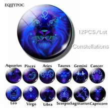 Twelve Constellations Fridge Magnets 12 Zodiac Signs Blue Glass Gemstone 25mm Round Magnetic Refrigerator Stickers 12PCS/LOT