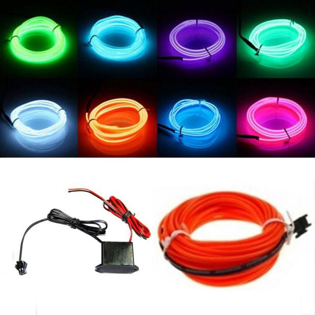 1m 2m 3m 5m Flexible Led El Wire Lamp Glow String Lights Rope For Home Car Dance Party Decoration With 12v Ed Controll
