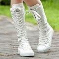 Hasta la rodilla mujeres botas con cordones zapatos de lona para mujer alpargatas nueva primavera otoño botas casuales de damas zapatos planos DX16