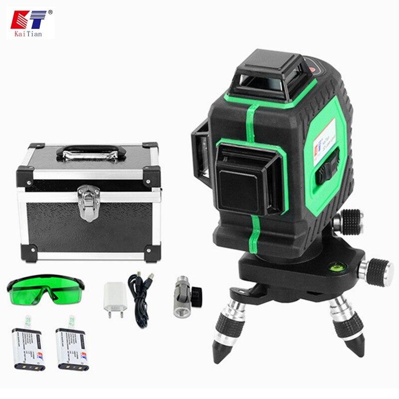 купить KaiTian 3D Green 12 Lines Laser Level Battery Self-Leveling 360 Horizontal 532nm Vertical Cross Livello Laser x Beam Line Tools по цене 12026.02 рублей