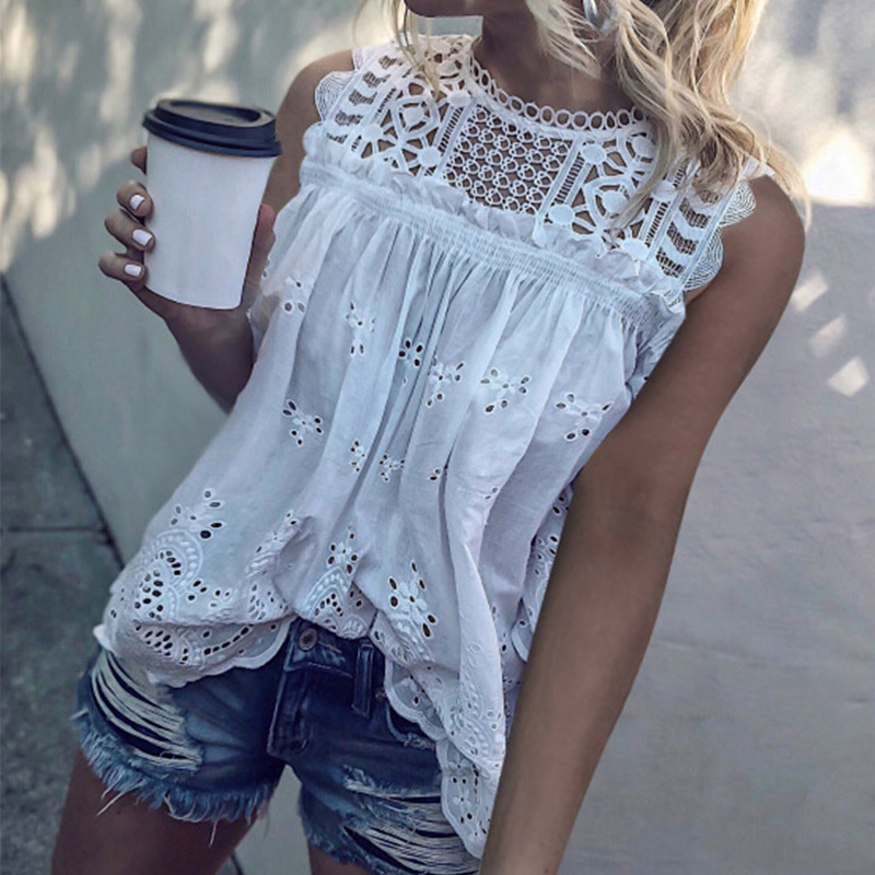 White Lace Hollow Out Cotton Women's Blouses Tunic Sleeveless O-Neck Sexy Female Tops 2020 Summer Fashion Ladies Blouse(China)
