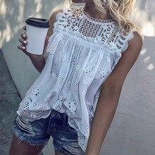 White Lace Hollow Out Cotton Women's Shirt Tunic Sleeveless O-Neck Sexy Womens