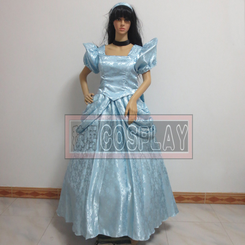 Free shipping Custom princess Cinderella Costume (Halloween) from Cinderella Cosplay cartoon Cloth