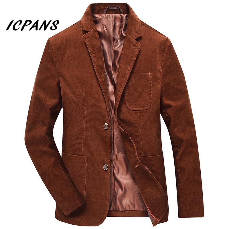 ICPANS Casual Blazer Masculino Autumn Winter Mens Blazer Jacket Cotton Corduroy Men Blazer 2019 Suit Clothes Plus Size XXXL