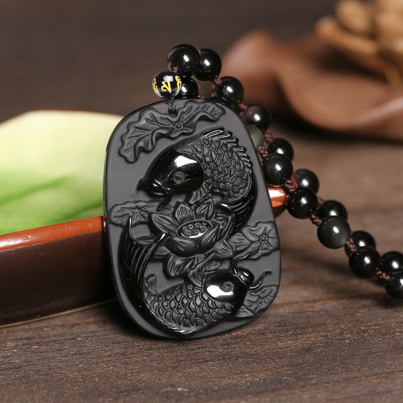 Fine carving Obsidian two fish and lotus black Obsidian pendant men s jewelry Fine carving Obsidian two fish and lotus black Obsidian pendant men's jewelry