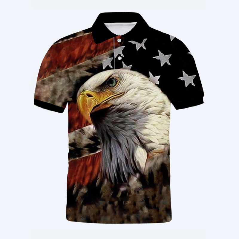 Individuelles T-Shirt Kühlen USA Flagge Adler Polo Shirts Tees OTE-01-30