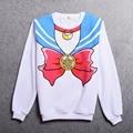Белая рубашка Sailor Moon Девушки Харадзюку Повседневный Sailor с длинным рукавом Толстовка толстовки Bowknot Pattern Топы
