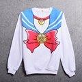 Branco Camisa Hoodies Meninas Harajuku Sailor Moon Sailor Casual Sweatershirt Manga Longa Bowknot Padrão Topos