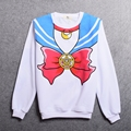 White Sailor Moon Shirt Hoodies Girls Harajuku Casual Sailor Long Sleeve Sweatershirt Bowknot Pattern Tops
