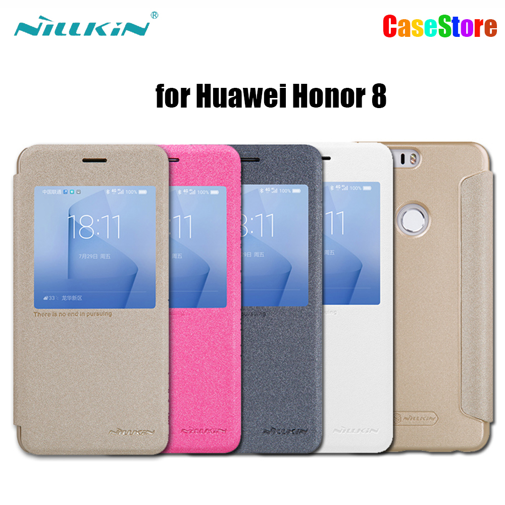 Original NILLKIN Sparkle Flip Leather Case for Huawei Honor 8 Smart View Window Back Cover Phone
