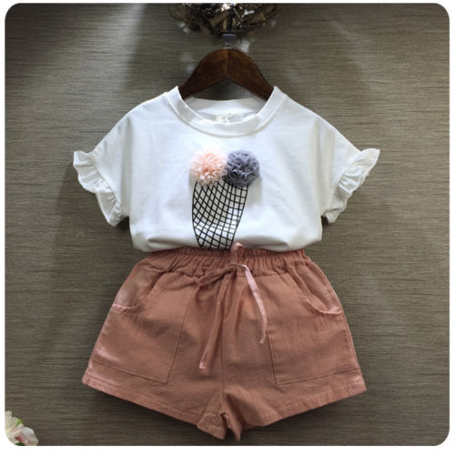 2Pcs/Set Toddler Kids Baby Girls icecream pattern T-shirt Tops+Floral Shorts Pants Outfit Clothes Set