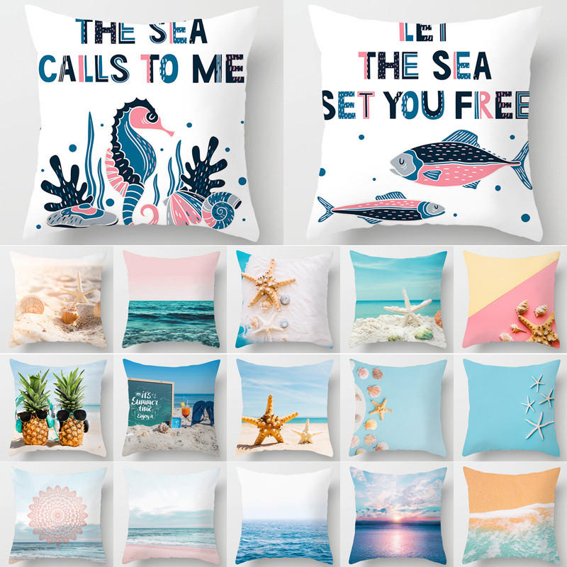 1Pcs Ocean Style Starfish Pattern Cushion Cover Decorative Sofa Pillow Case Polyester Home Living Room Decor Pillow Cover 40828
