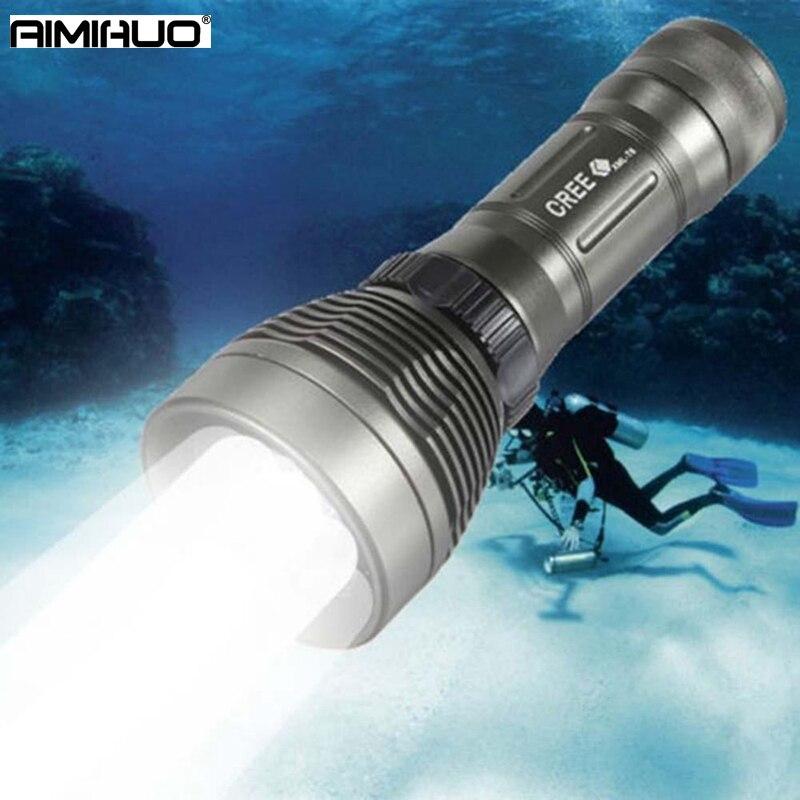 AIMIHUO Professionnel LED sous-marine lampe de poche T6 Forte Torche Lampe 186650 26650 de charge étanche 80 m T6 plongée lampe de poche