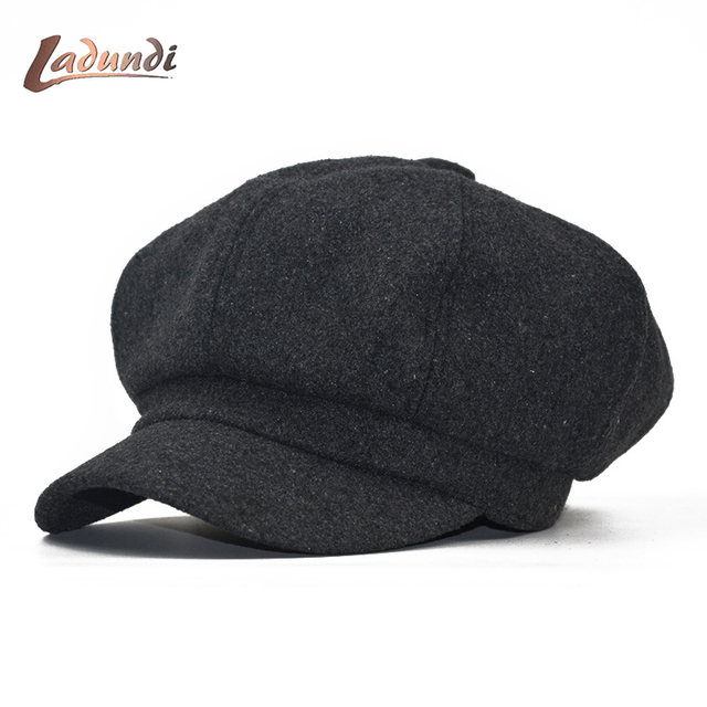 LADUNDI 2018 Super Warm High Quality Fashion Artist Wool Lady Beret Lady  Hat Hoodie Casual Dome Octagon Hat Chapeu Hat 7a5b8f369e8