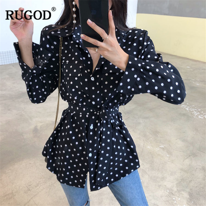 Blouses & Shirts Contemplative Rugod 2018 Autumn Women Blouse Shirts Fashion Belted Dot Print Long Sleeve Shirt Female Casual Single Breasted Blusa Tops Kimono