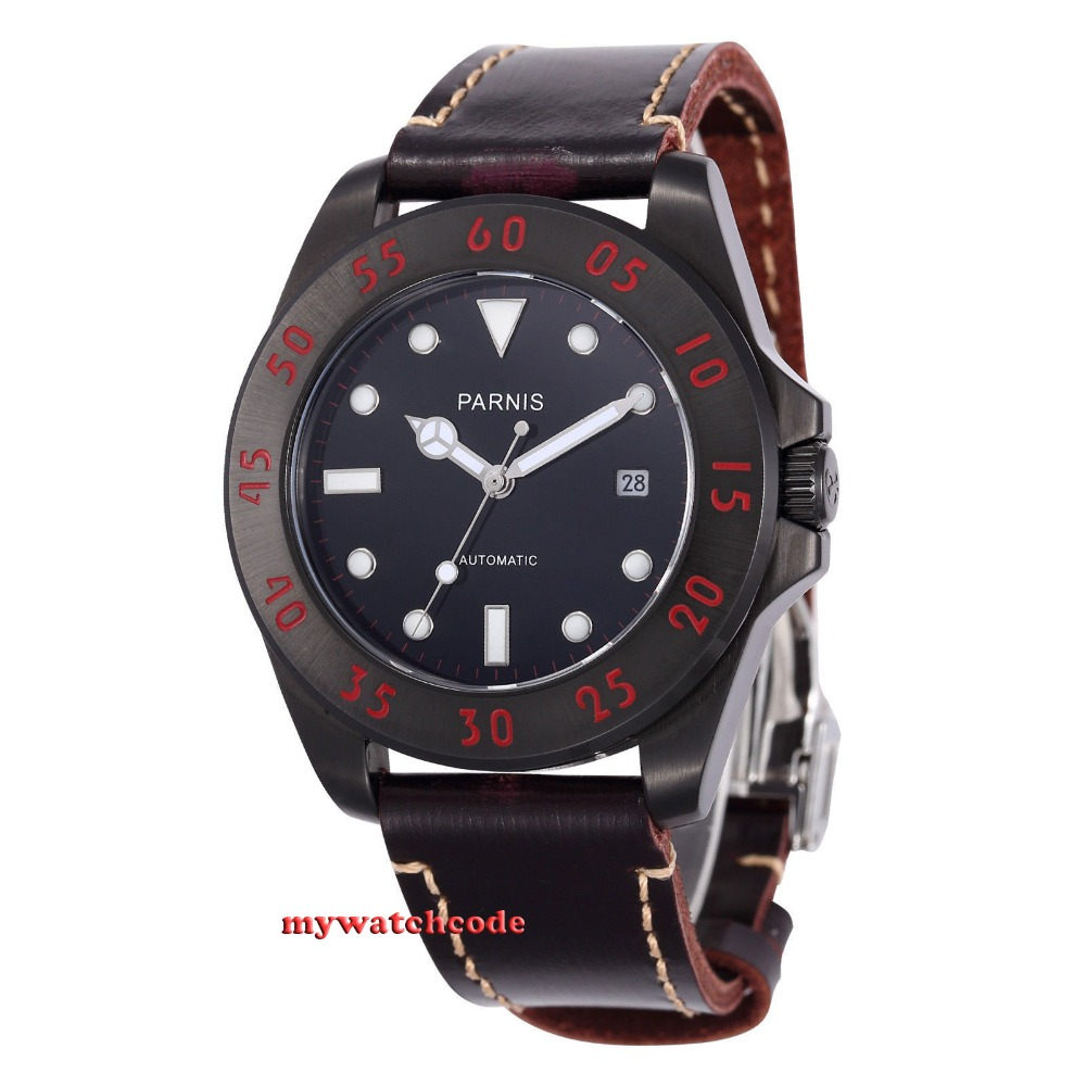 Parnis black dial PVD Sapphire Glass 21 jewels miyato Automatic mens Watch 391 цена и фото
