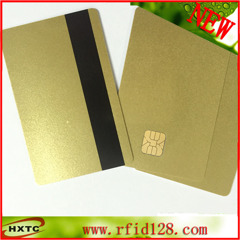 10PCS/Lot Contact Sle4428 Chip Gold Card with Magnetic Stripe pvc blank smart card /Purchase Card 1K Memory Free Shipping 200pcs lot printable pvc contact smart ic blank card with sle4428 chip 1k memory for e pson c anon inkjet printer page 2 page 5 page 4