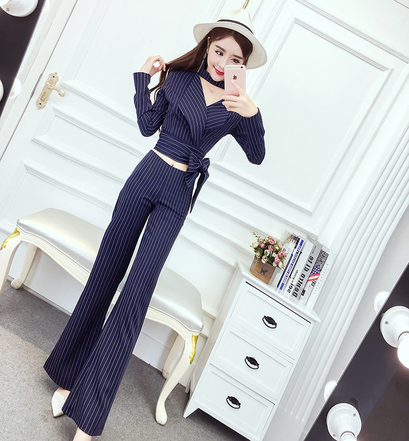 new design fashion women short v-neck long-sleeve coat top &  wide-legged long pants stripe clothing set girl costume outfit