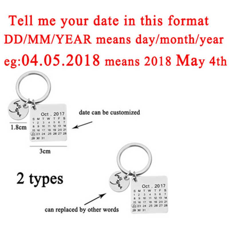 Pribadi Kalender Kustom Gantungan Kunci Stainless Steel Disorot dengan Heart Date Mengukir Tanggal Ulang Tahun Pernikahan Hadiah Ulang Tahun
