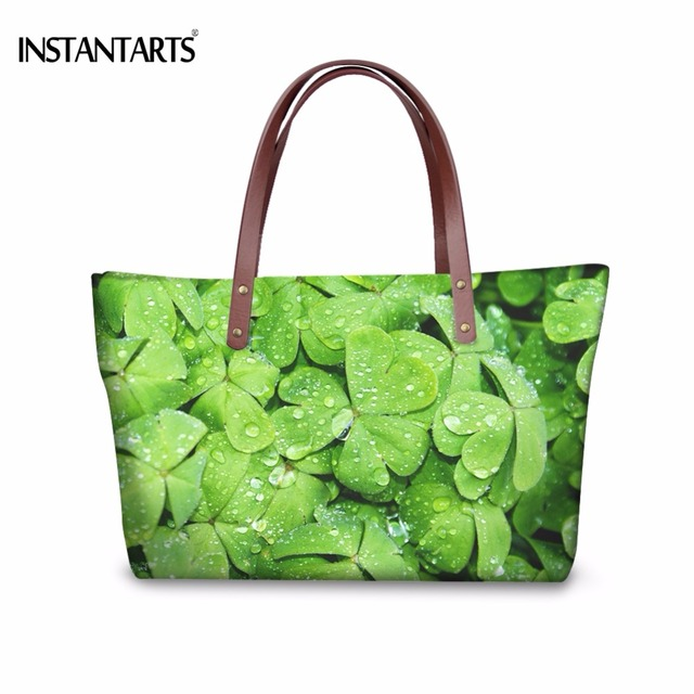 Instantarts Stylish Women Large Tote Bag Plant Green Leaves Print Female Handbags Brand Design Beach